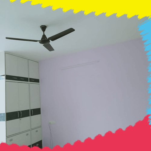 Interior wall paint with pink white color painter
